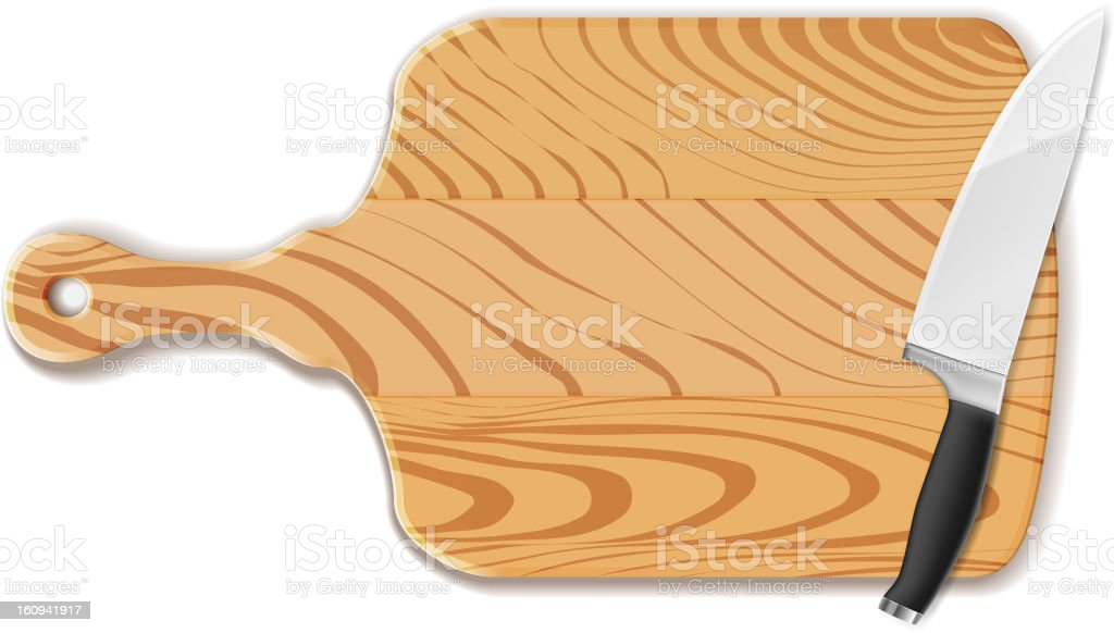 Chopping board and knife vector art illustration