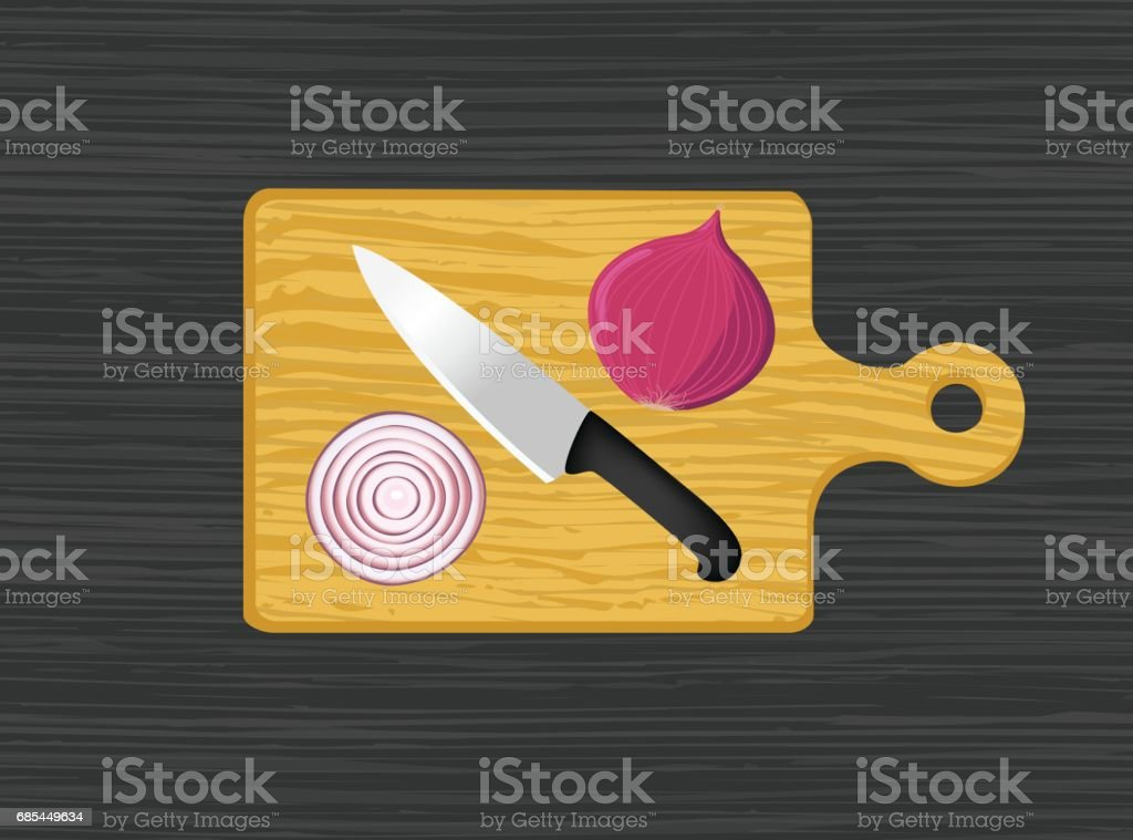 Chopping Board With Knife And Onion vector art illustration
