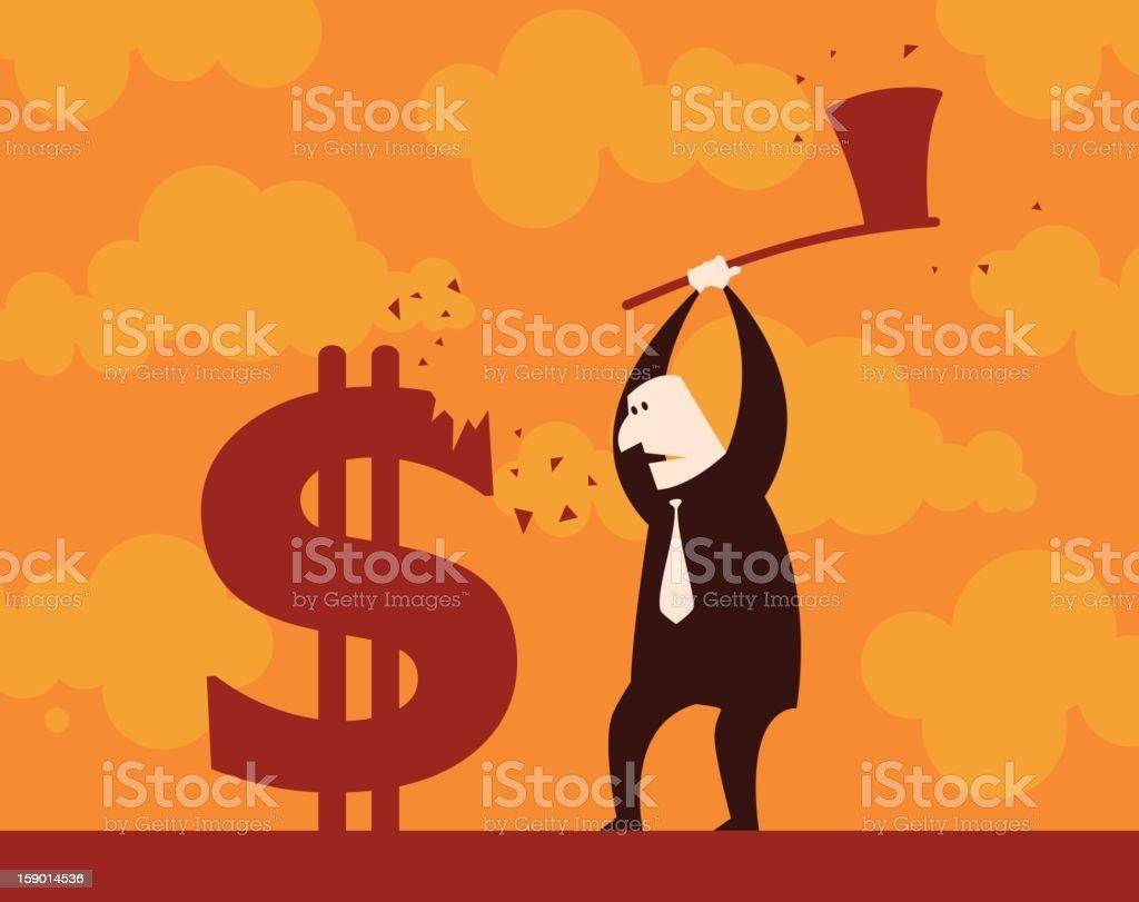 Chopping Dollar down royalty-free stock vector art