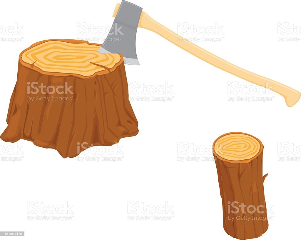 Chopping Wood with an Axe royalty-free stock vector art
