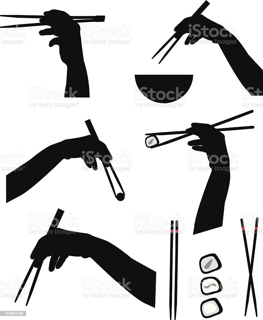 chopsticks collection vector art illustration