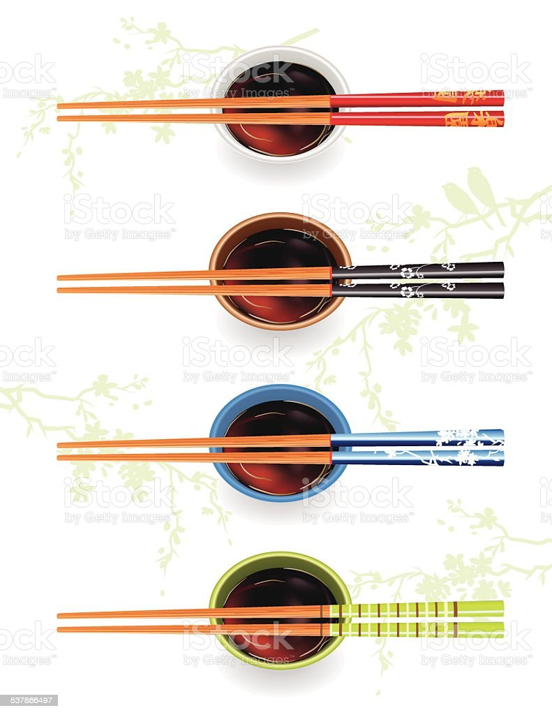 Chopsticks With Soy Sauce And Cherry Blossoms vector art illustration