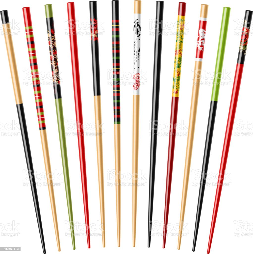 Chopsticks with various colors and patterns on white vector art illustration