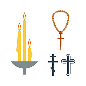 Chrch candle and religion icons vector.