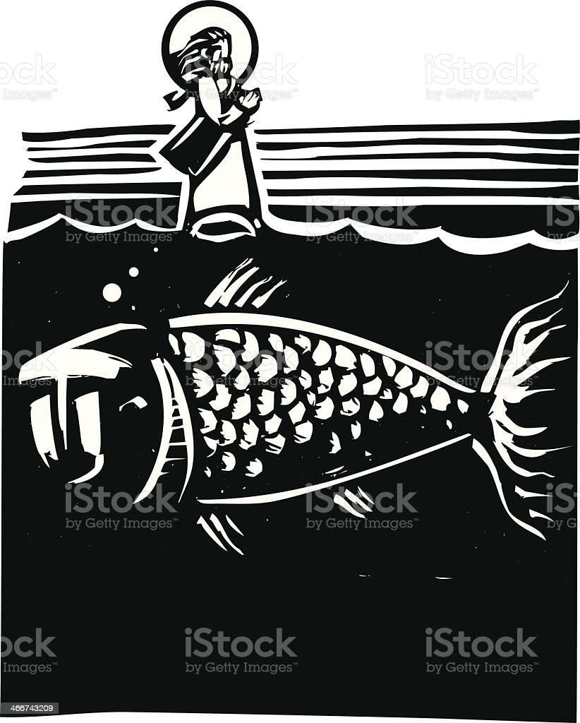 Christ Walking on Water royalty-free stock vector art