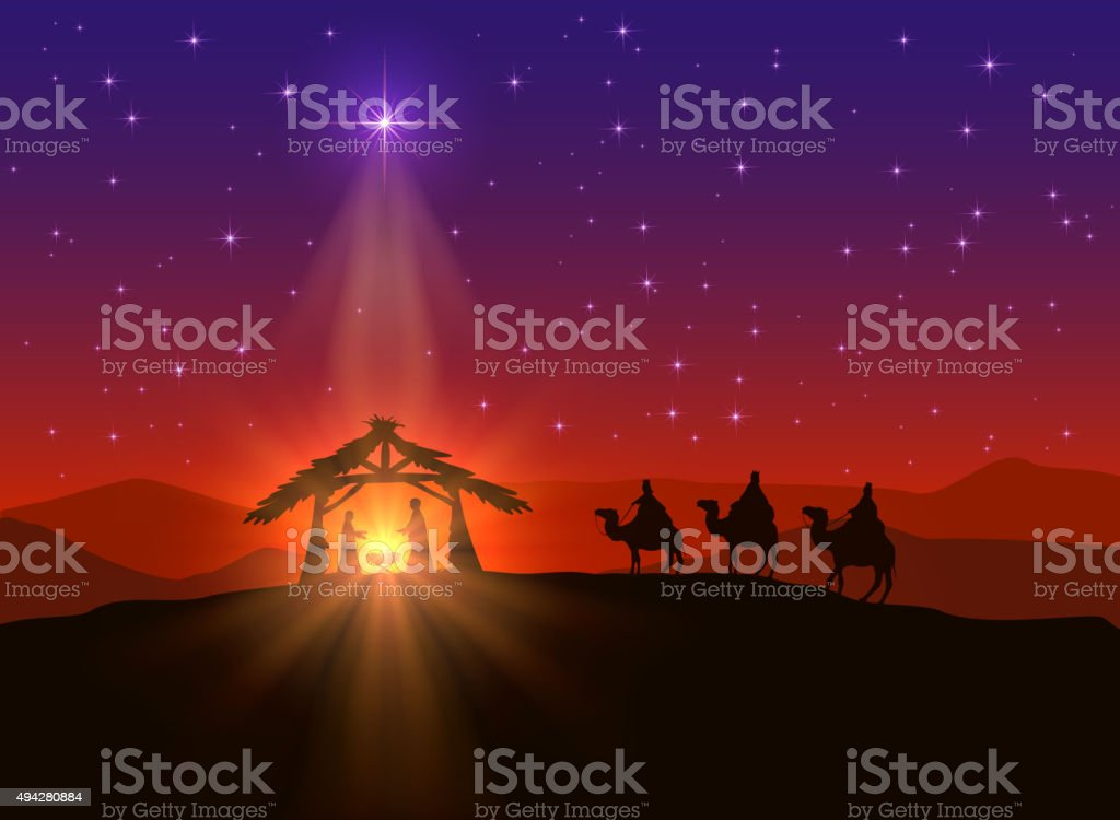 Christian background with Christmas star and birth of Jesus,...