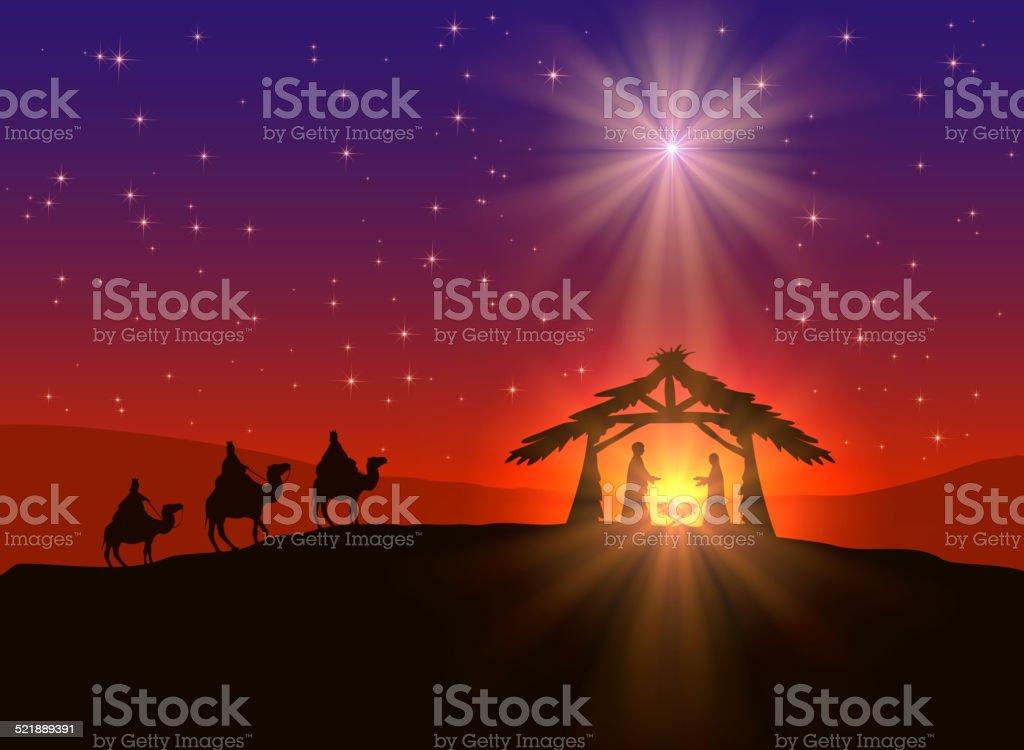Christian Christmas background with star vector art illustration
