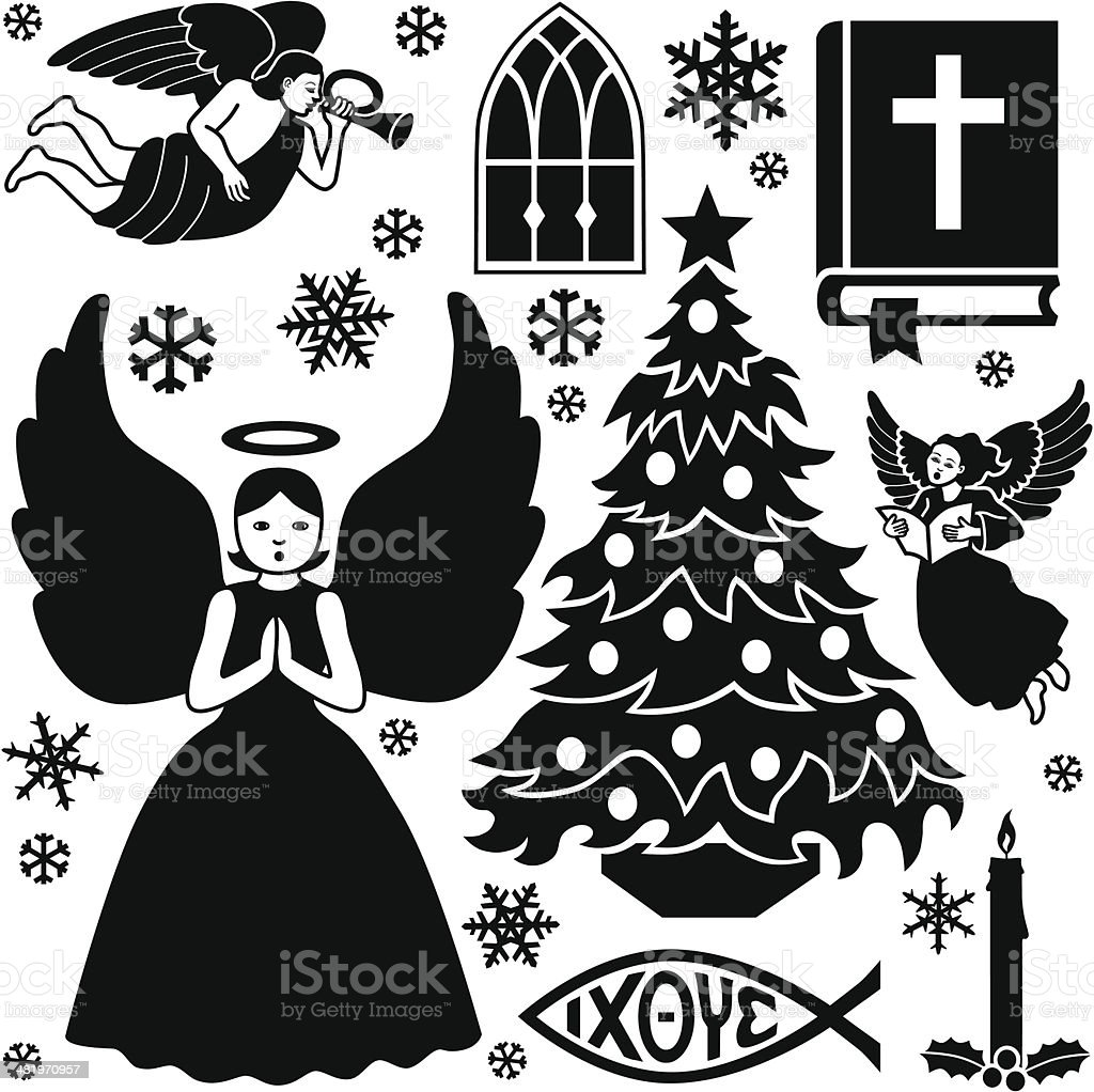 Christian Christmas design elements vector art illustration