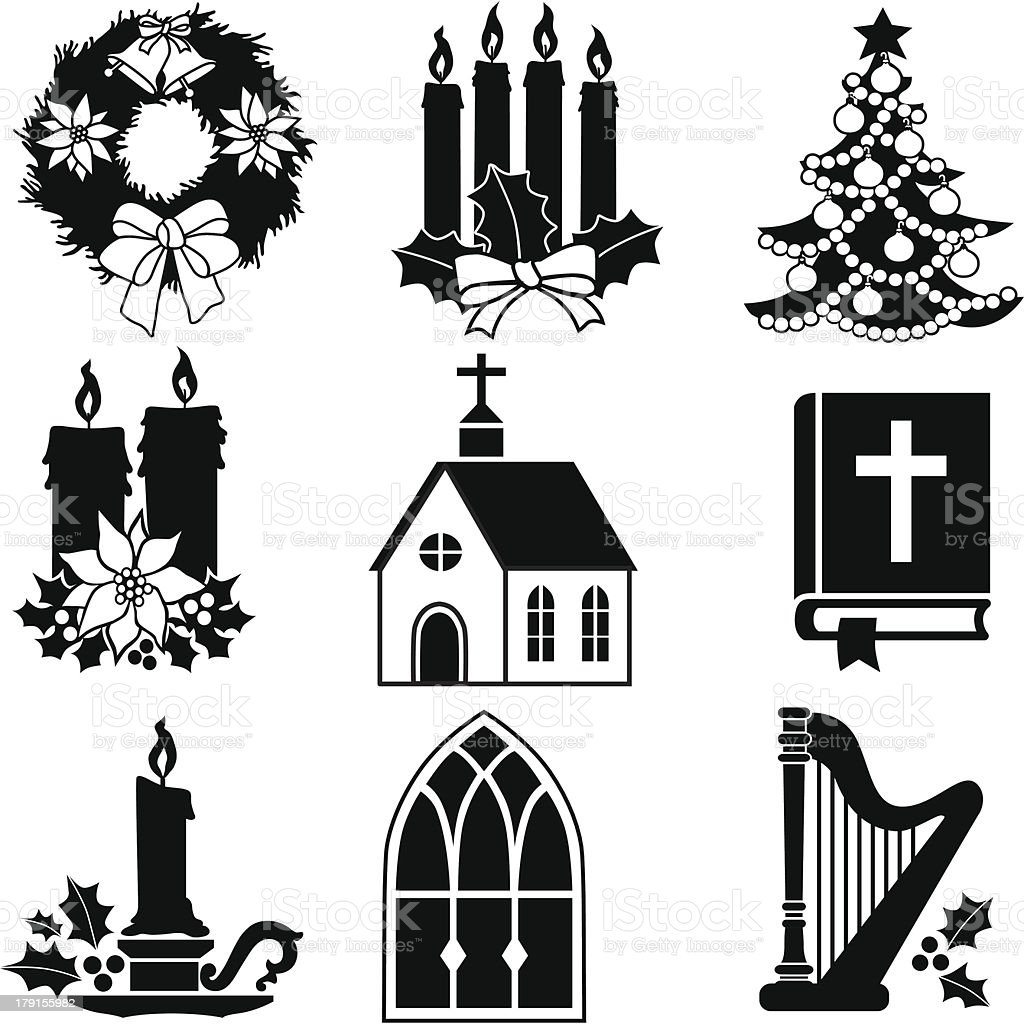 Christian Christmas icons royalty-free stock vector art