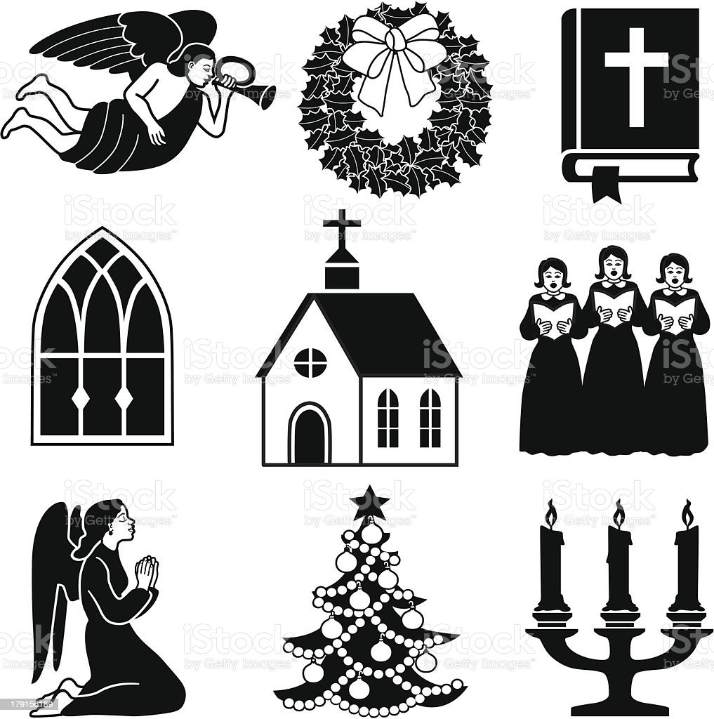 Christian Christmas icons vector art illustration
