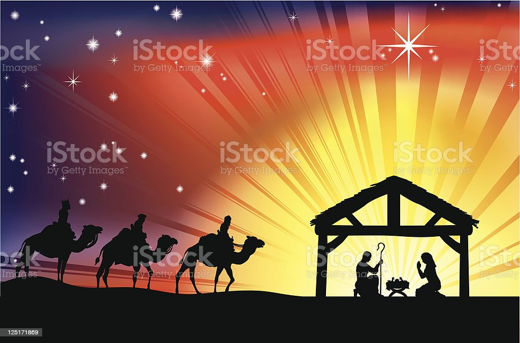 Christian Christmas Nativity Scene vector art illustration
