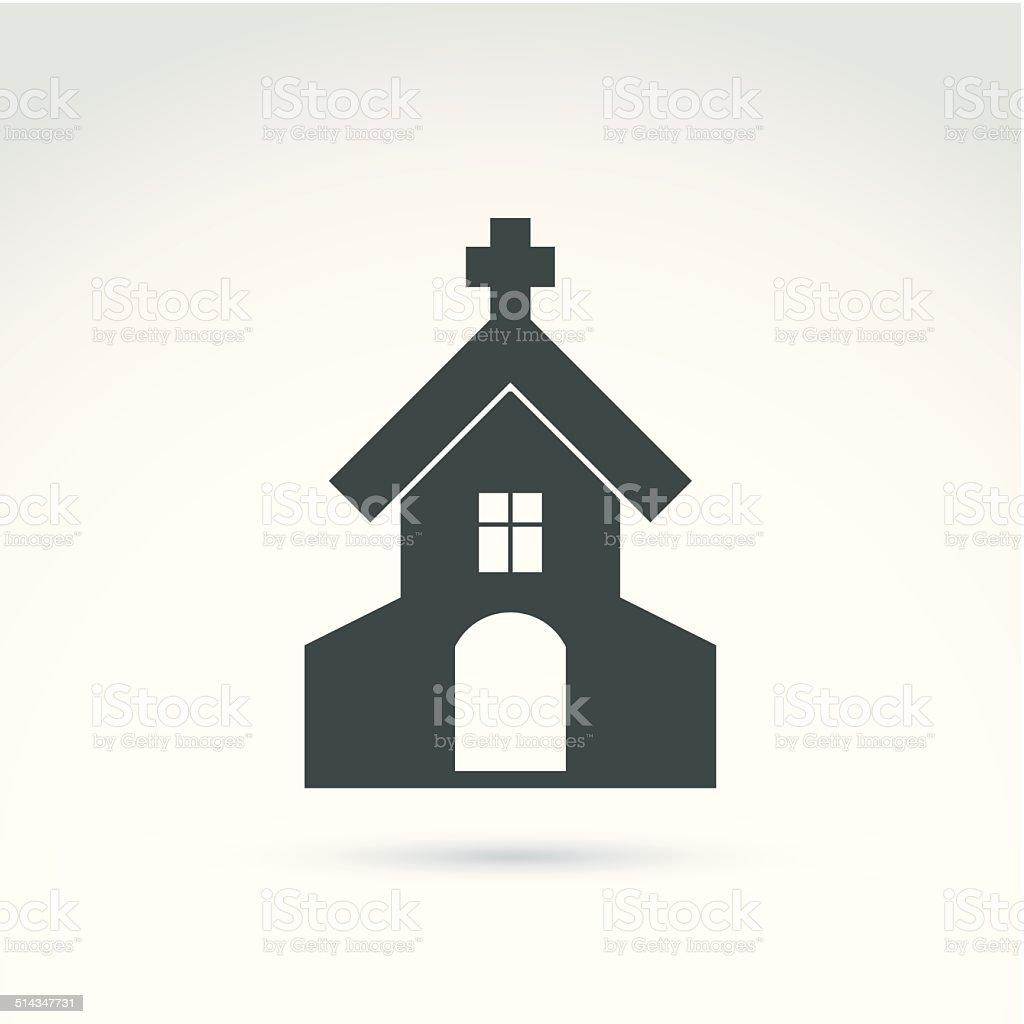 Christian church with a cross. Vector illustration of a temple vector art illustration
