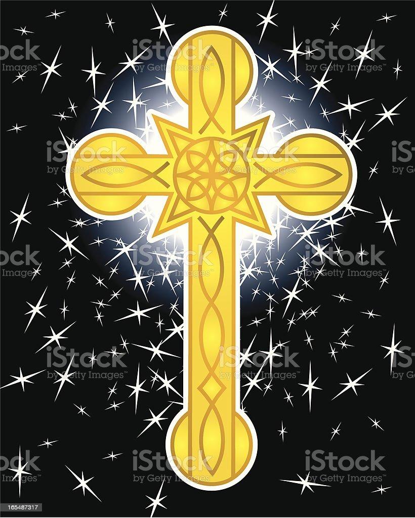 Christian Cross and Stars royalty-free stock vector art