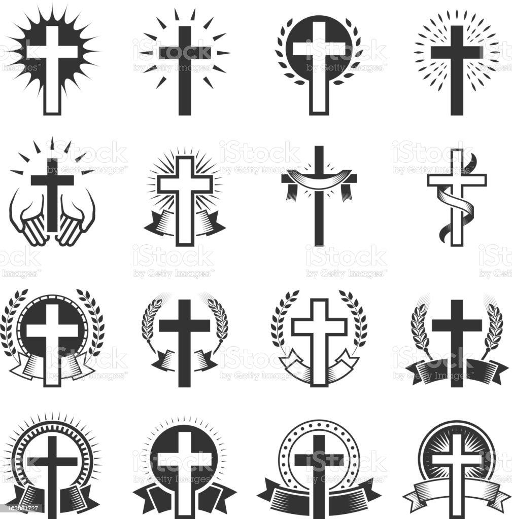 Christian Cross black and white icon set vector art illustration