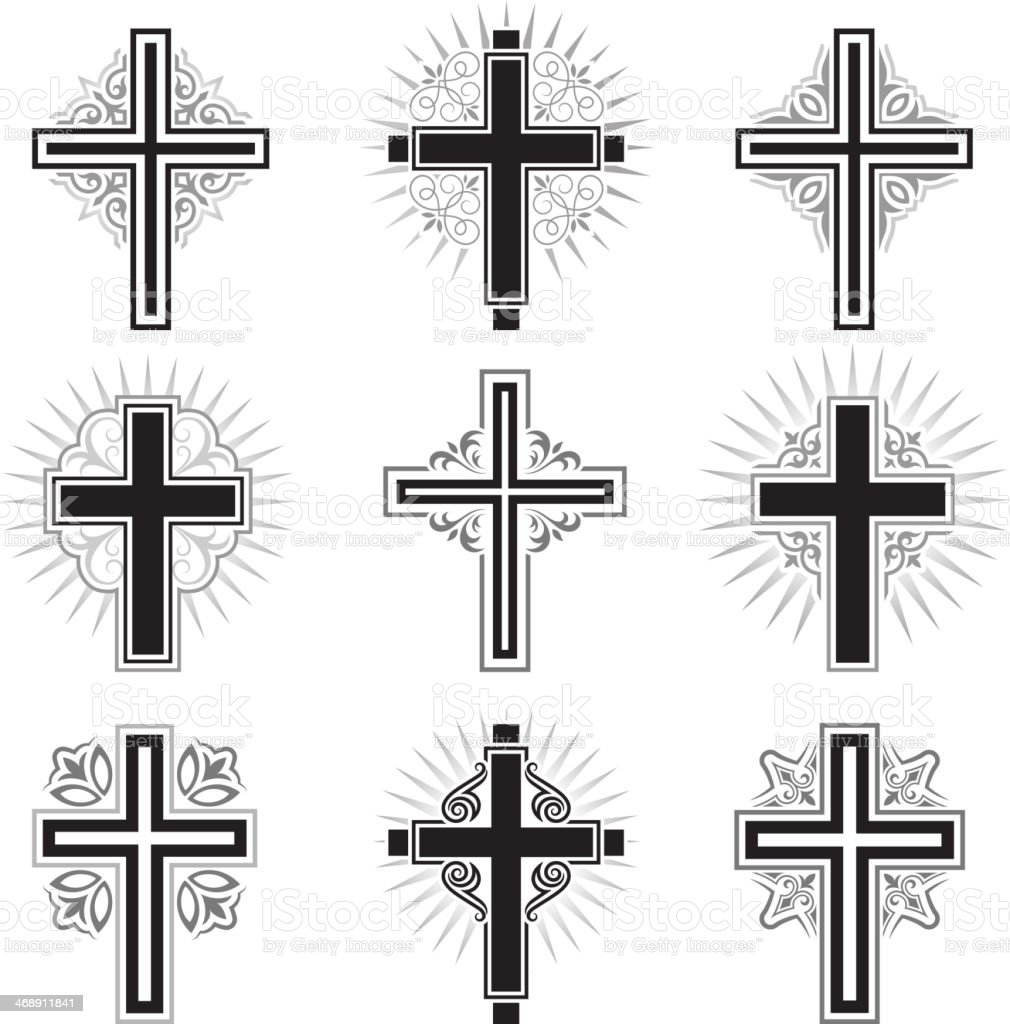 Christian Cross black and white royalty free vector icon set vector art illustration