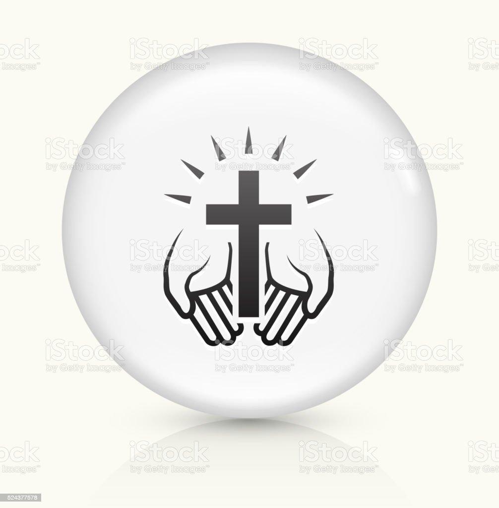 Christian Cross icon on white round vector button vector art illustration