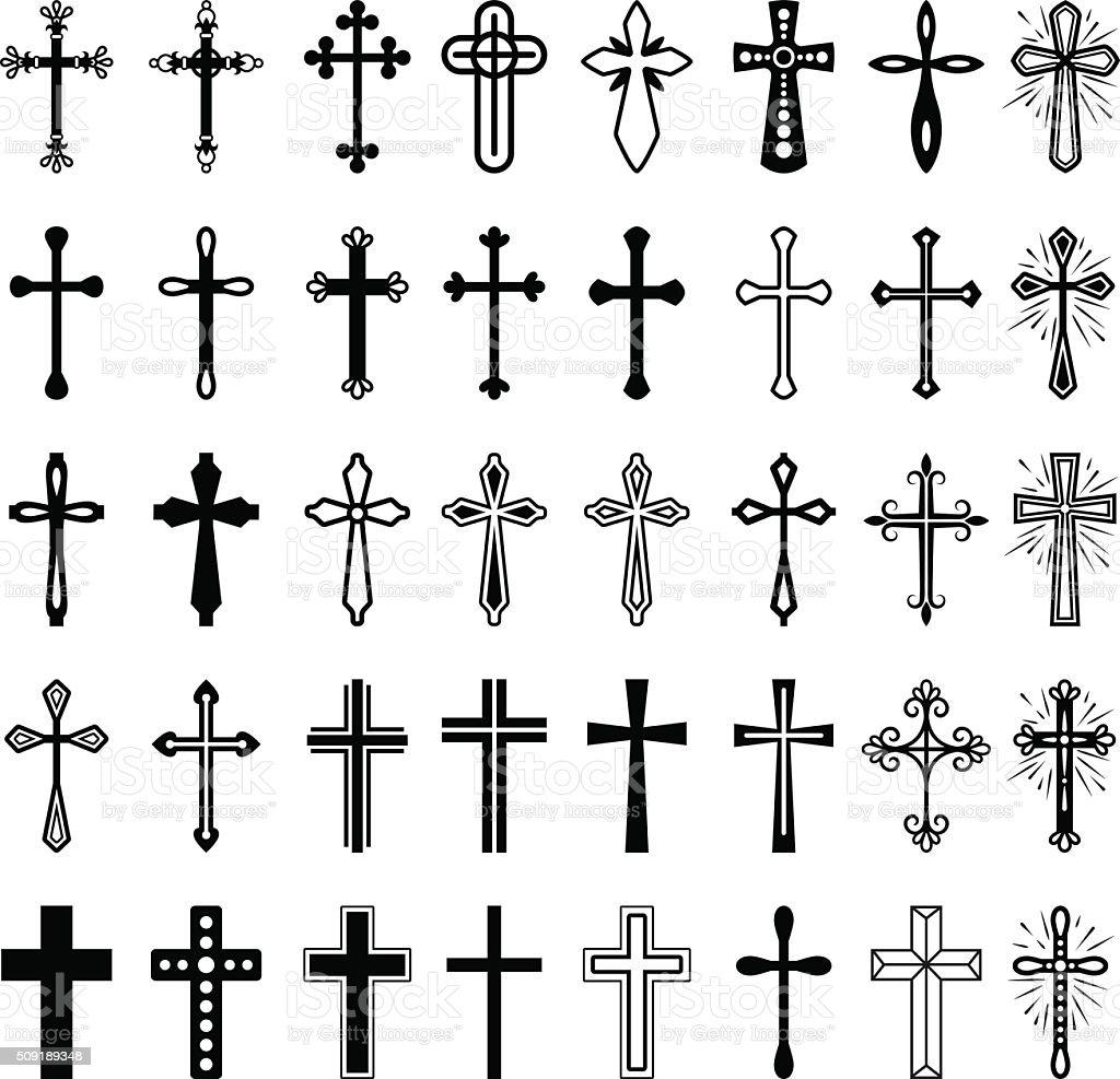 Christian cross icons set vector art illustration