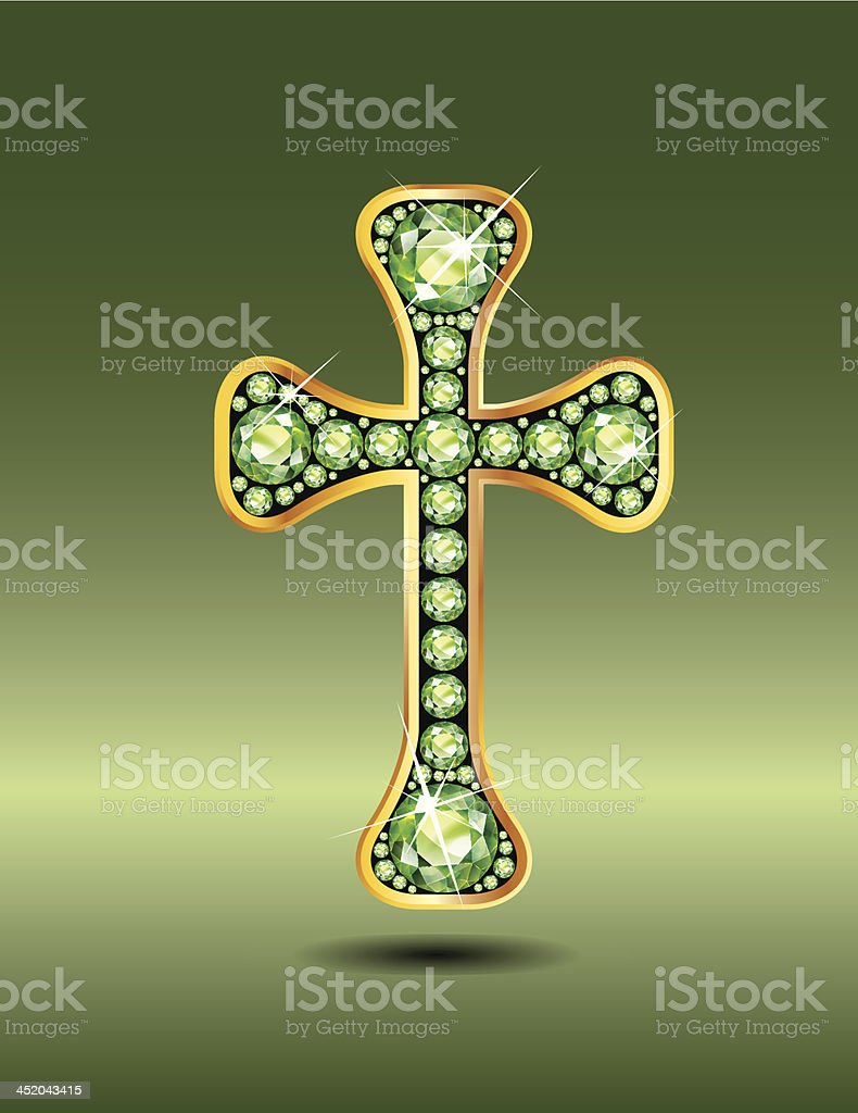 Christian Cross in Gold with Peridot Stones royalty-free stock vector art