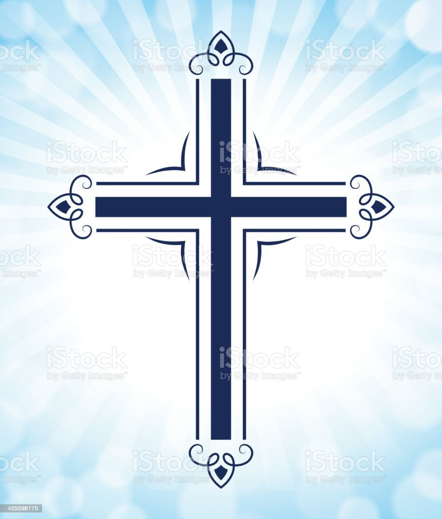 Christian Cross on Bright Blue Background vector art illustration