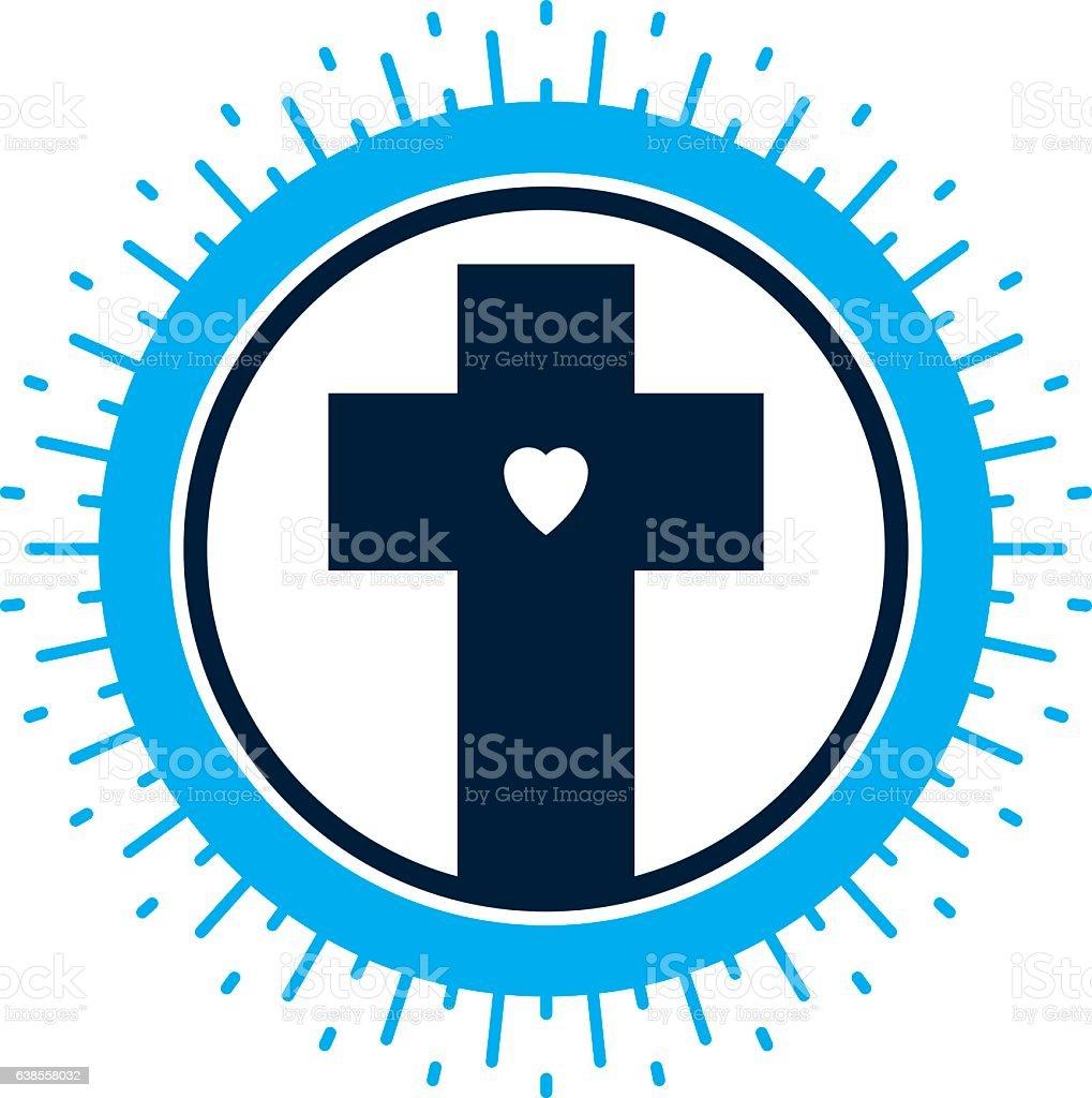 Christian Cross vector symbol, Christianity God religion icon.
