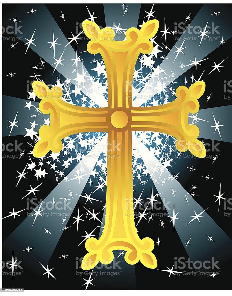 Christian Cross with Star Burst royalty-free stock vector art