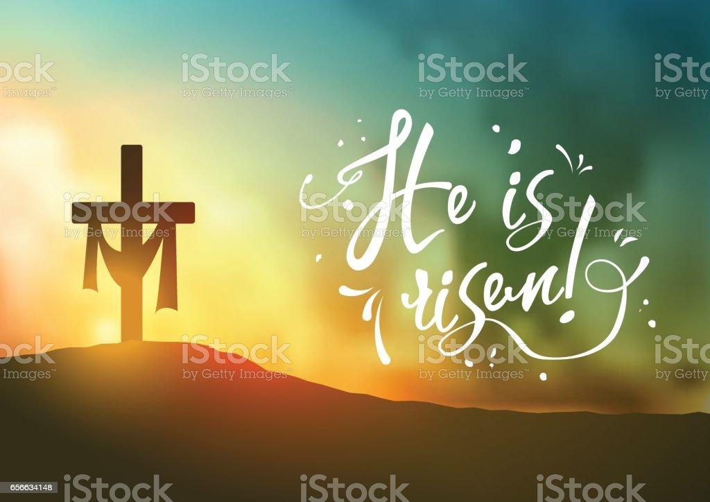 Christian easter scene, Saviour's cross on dramatic sunrise scene, with text He is risen, illustration vector art illustration