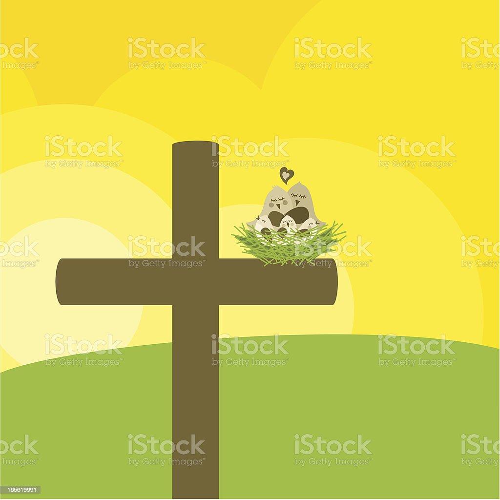 Christian family vector art illustration