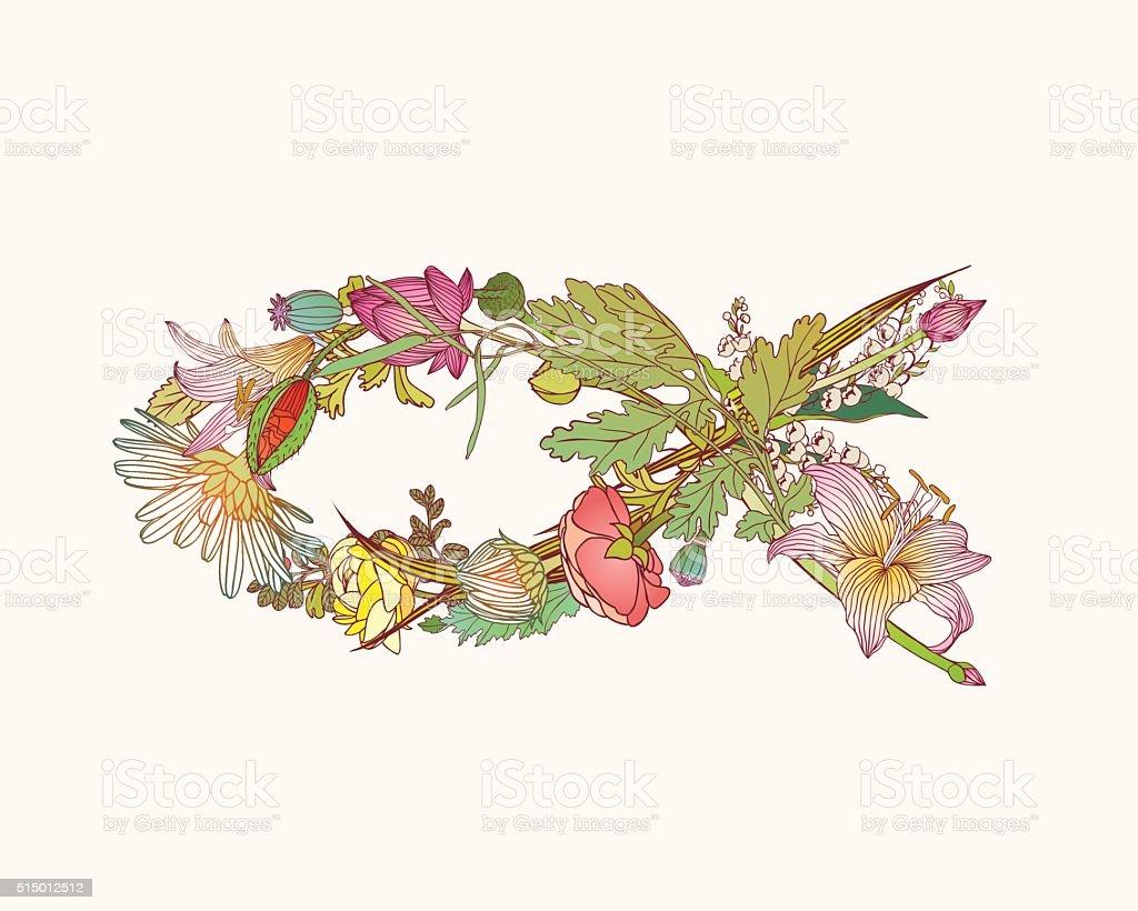 Christian Fish Symbol  of flowers vector art illustration