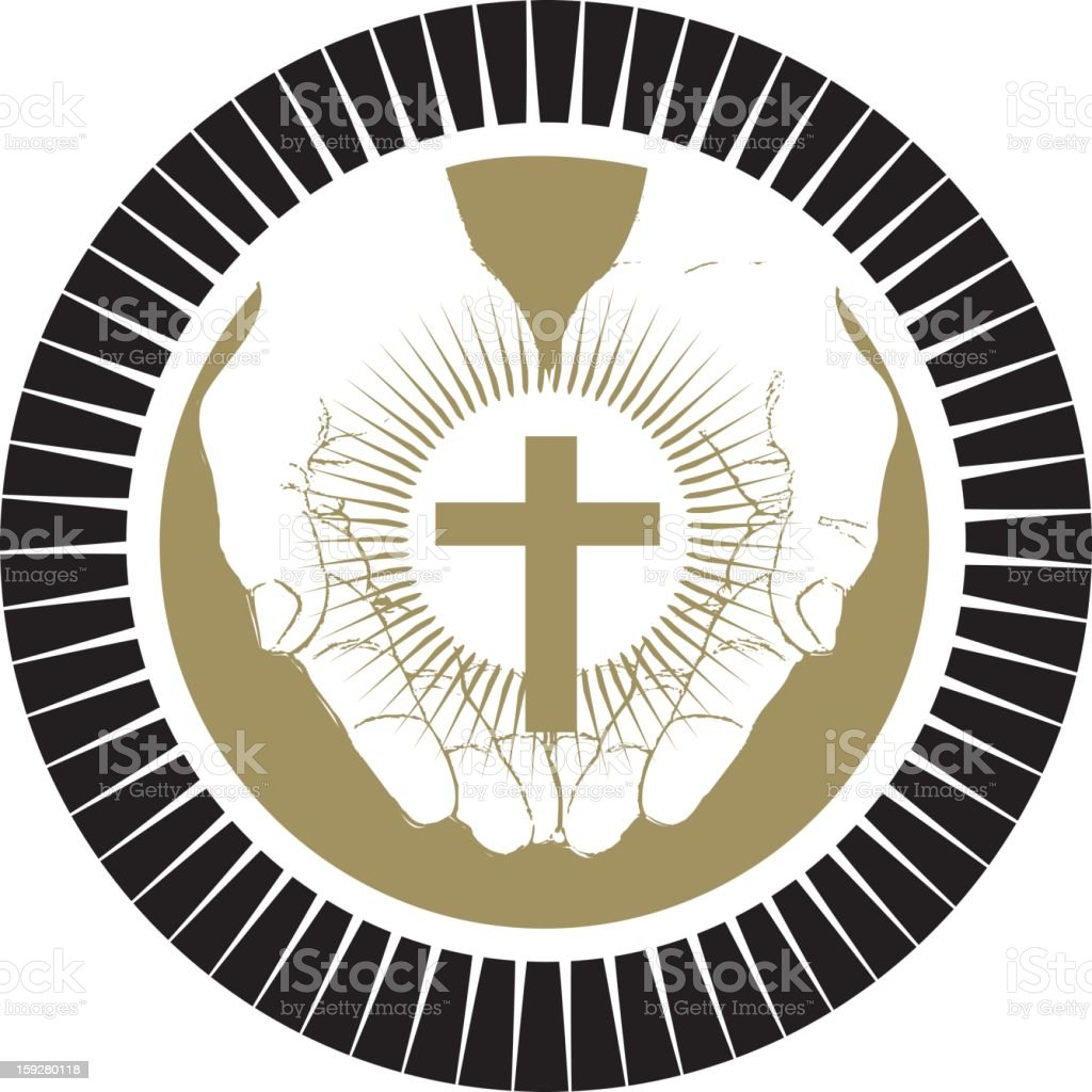 Christian Hands Holding Cross royalty-free stock photo