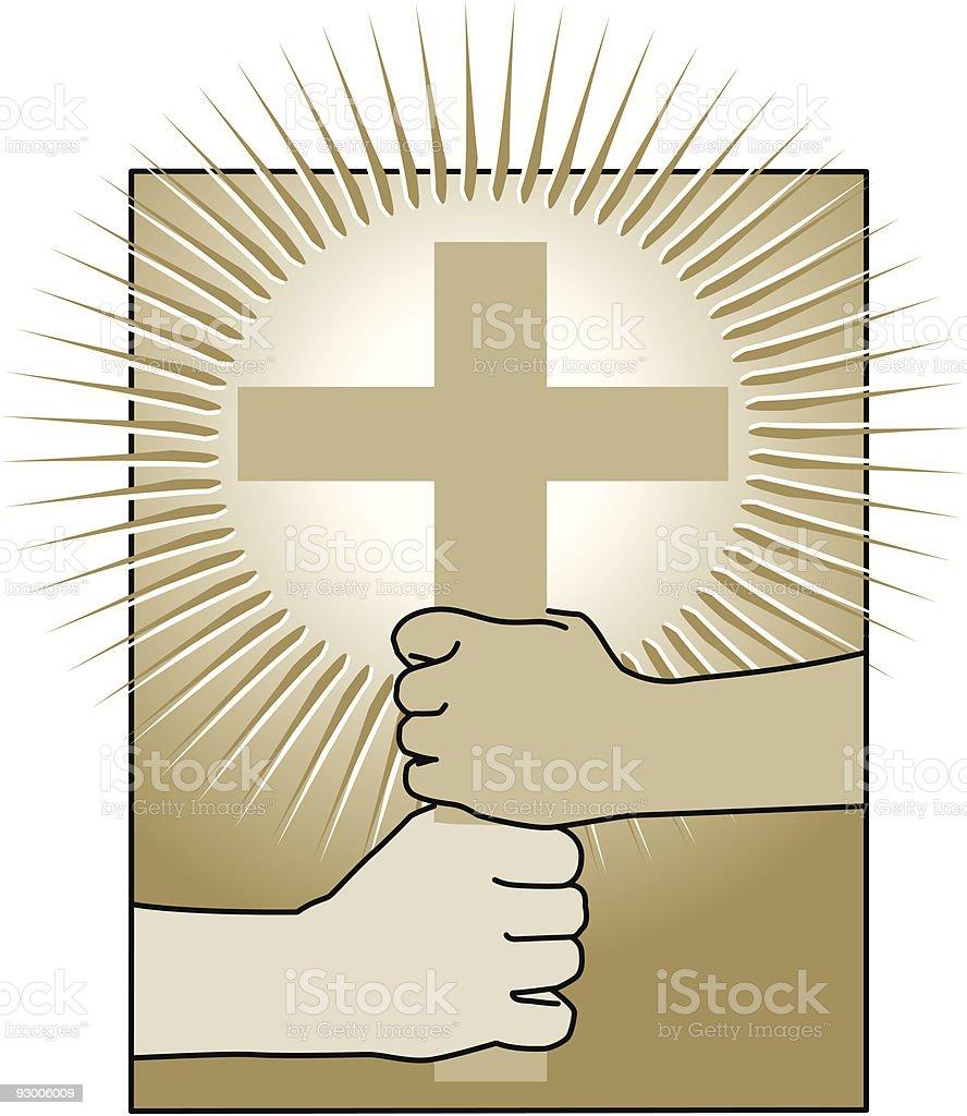 Christian Hands Holding Cross #2 royalty-free stock vector art