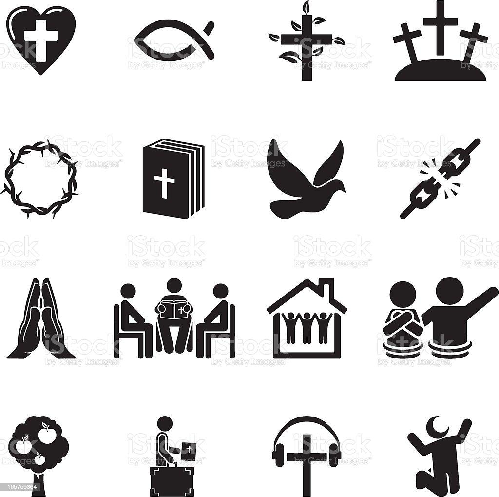 Christian Icon Set vector art illustration