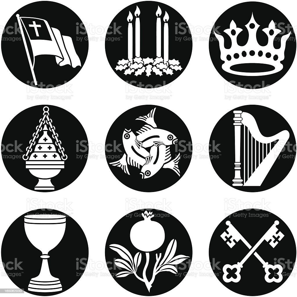 Christian icons reversed royalty-free stock vector art