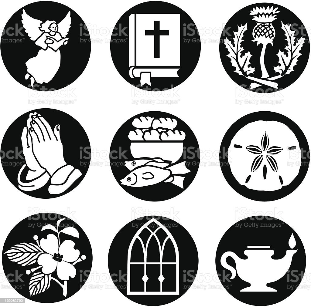 Christian icons reversed vector art illustration