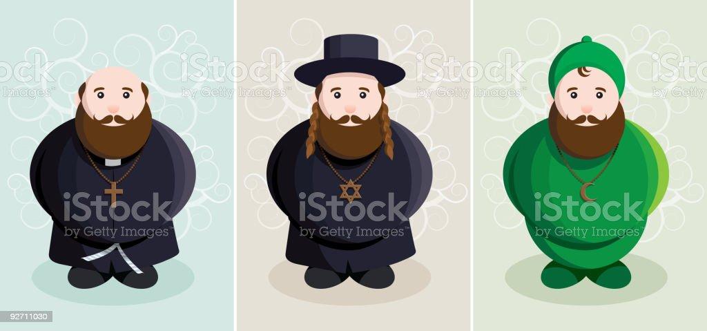 christian, jewish, muslim vector art illustration