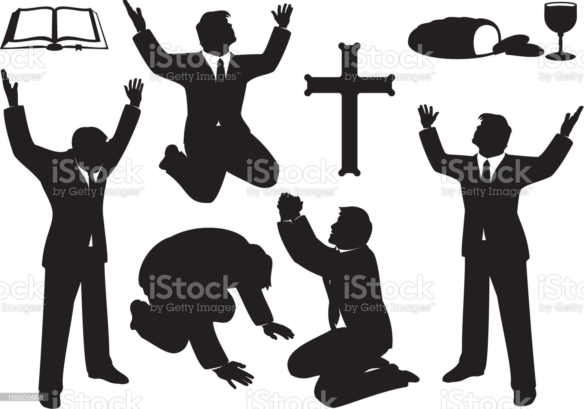 Christian Prayer and Praise Silhouette Set royalty-free stock vector art