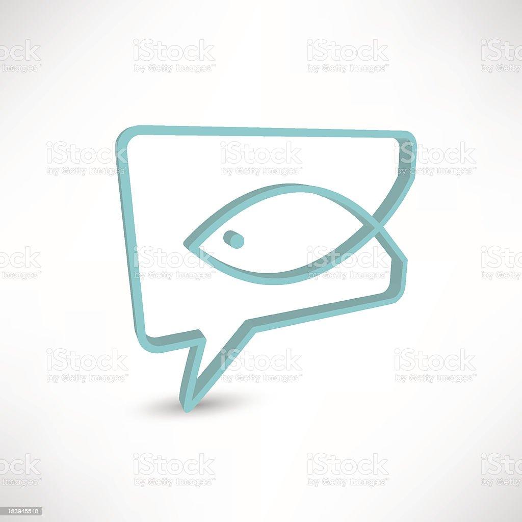 Christian religion symbol fish. Concept speech bubbles vector art illustration