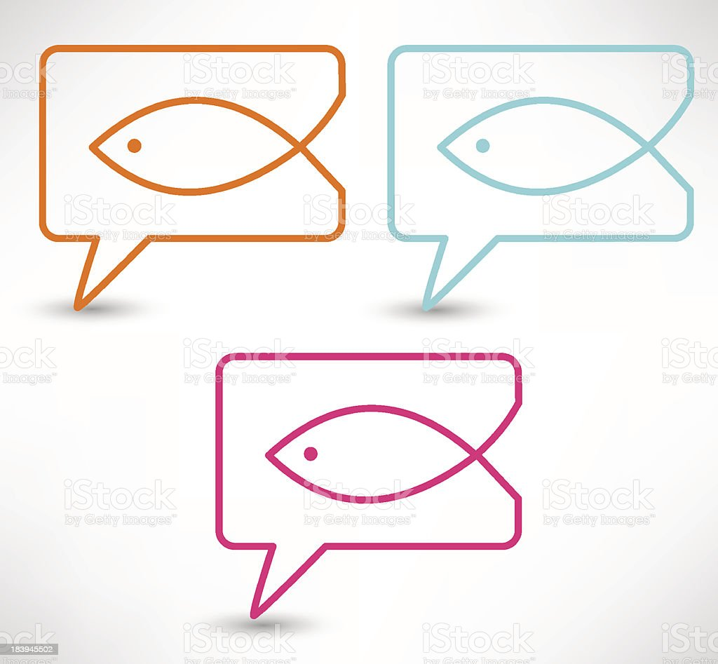 Christian religion symbol fish vector art illustration