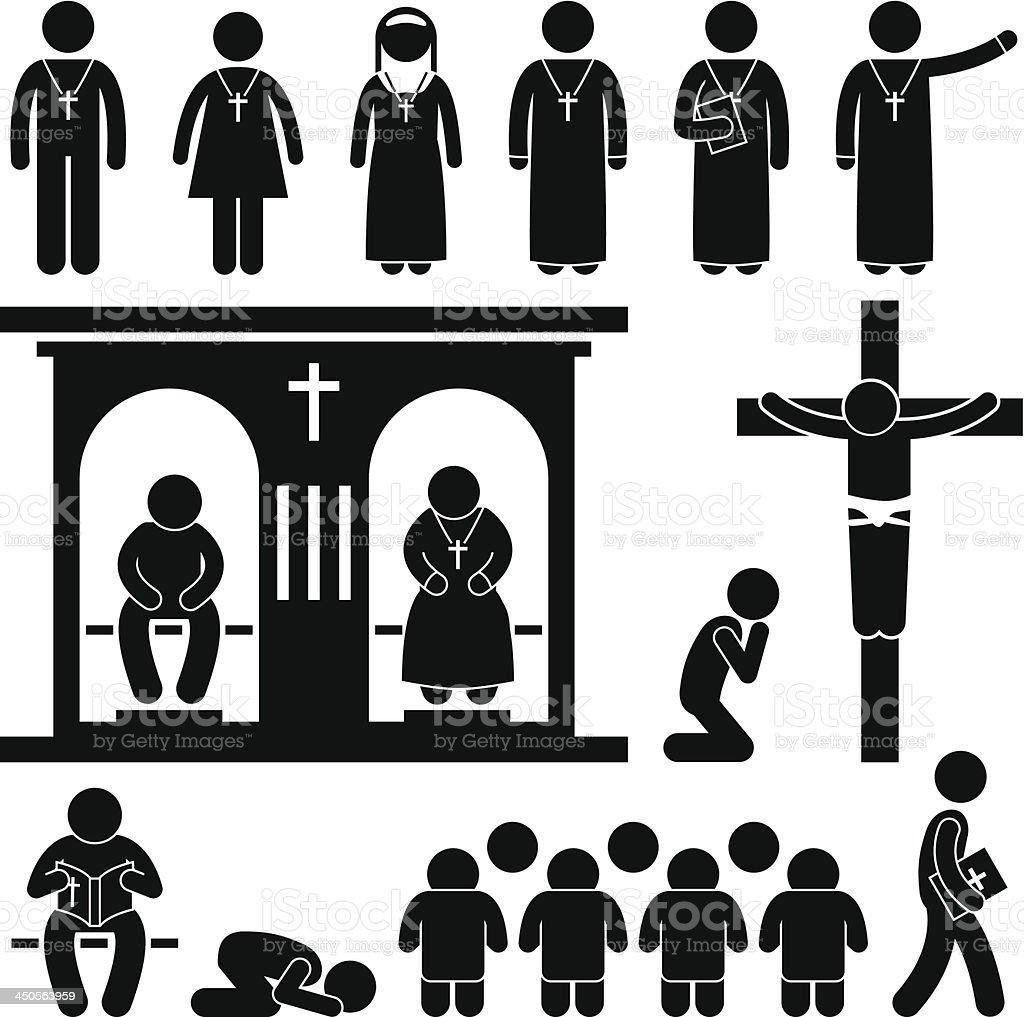Christian Religion Tradition Church Pictogram royalty-free stock vector art