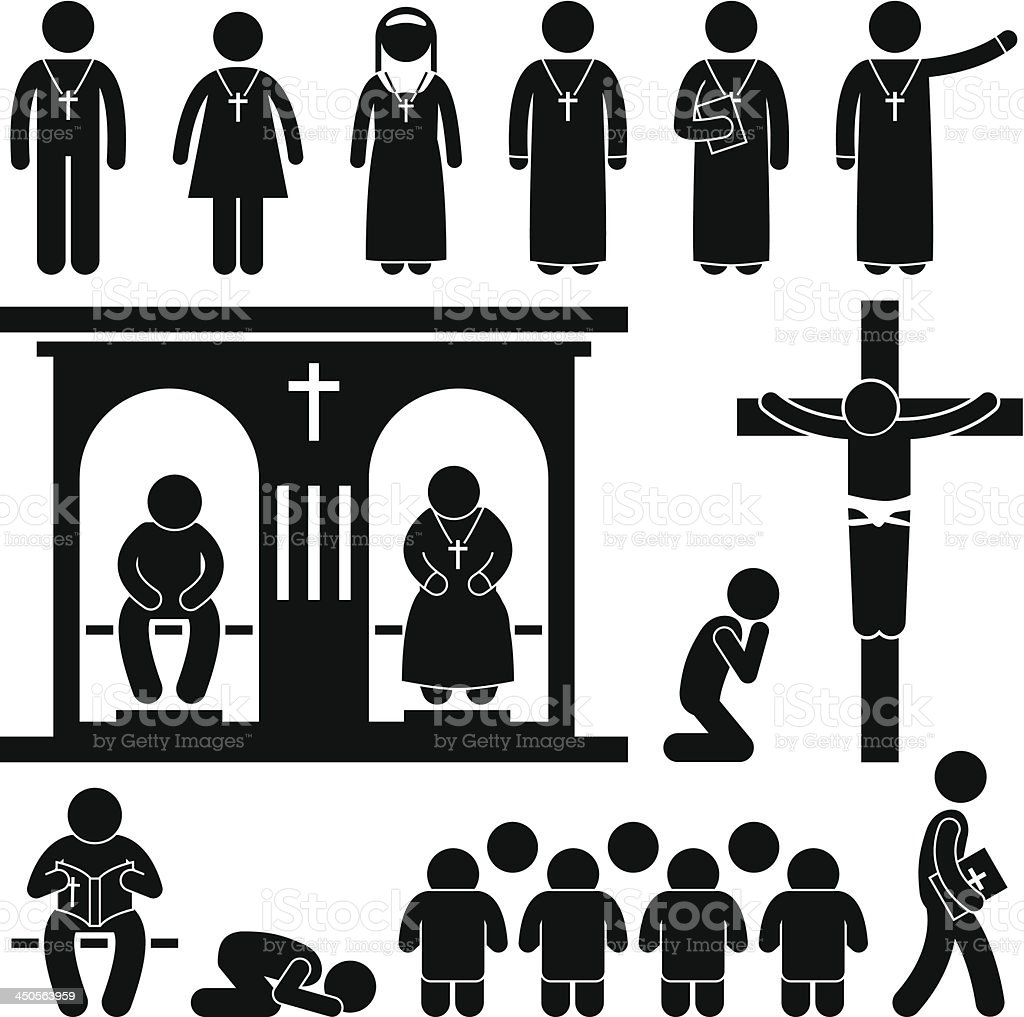 Christian Religion Tradition Church Pictogram vector art illustration