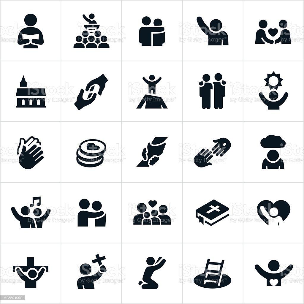Christian Worship Icons vector art illustration