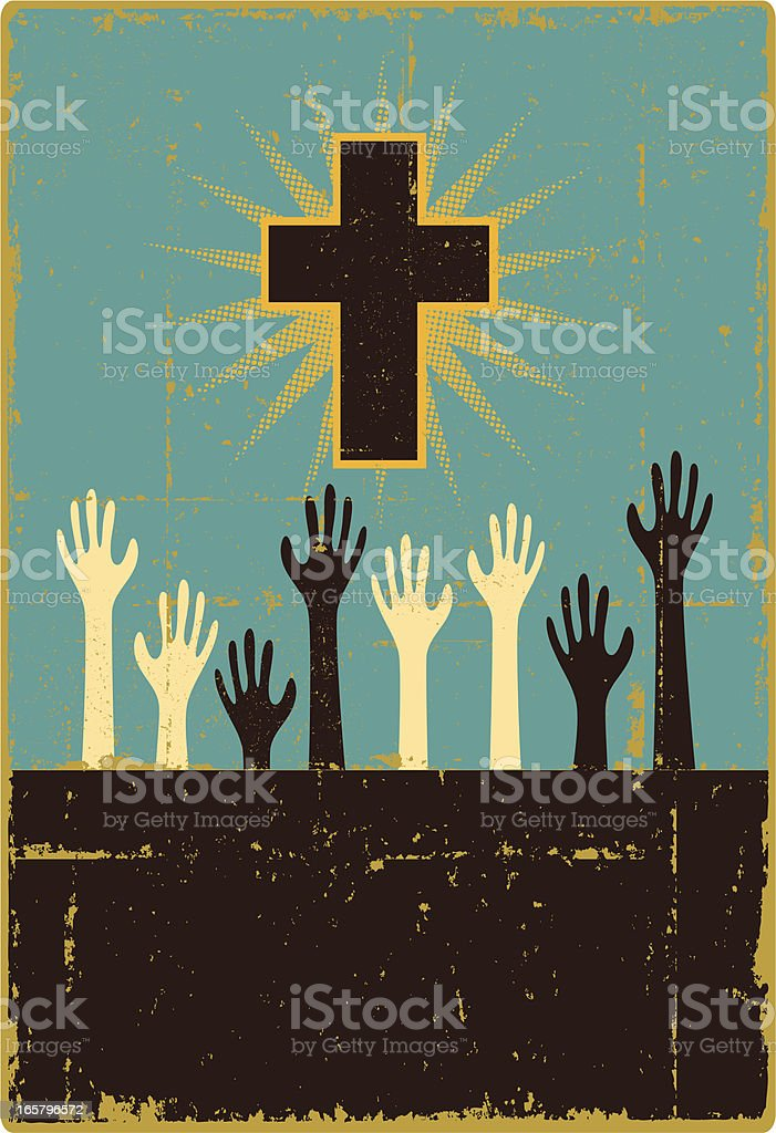 Christian Worship Sign - Copy Space royalty-free stock vector art