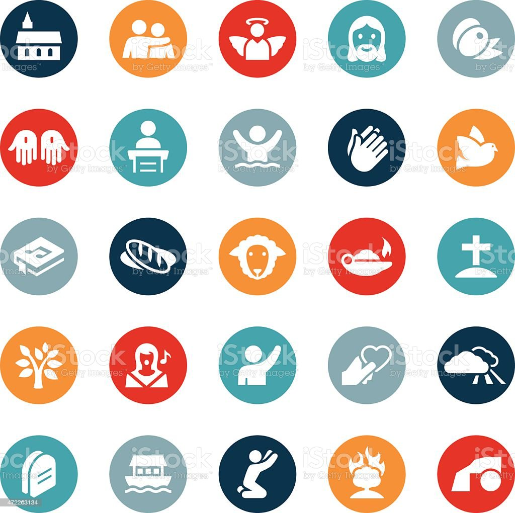 Christianity and Religion Icons vector art illustration