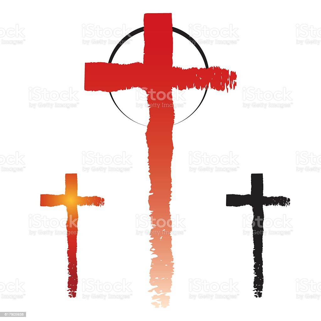 Christianity cross symbols vector art illustration