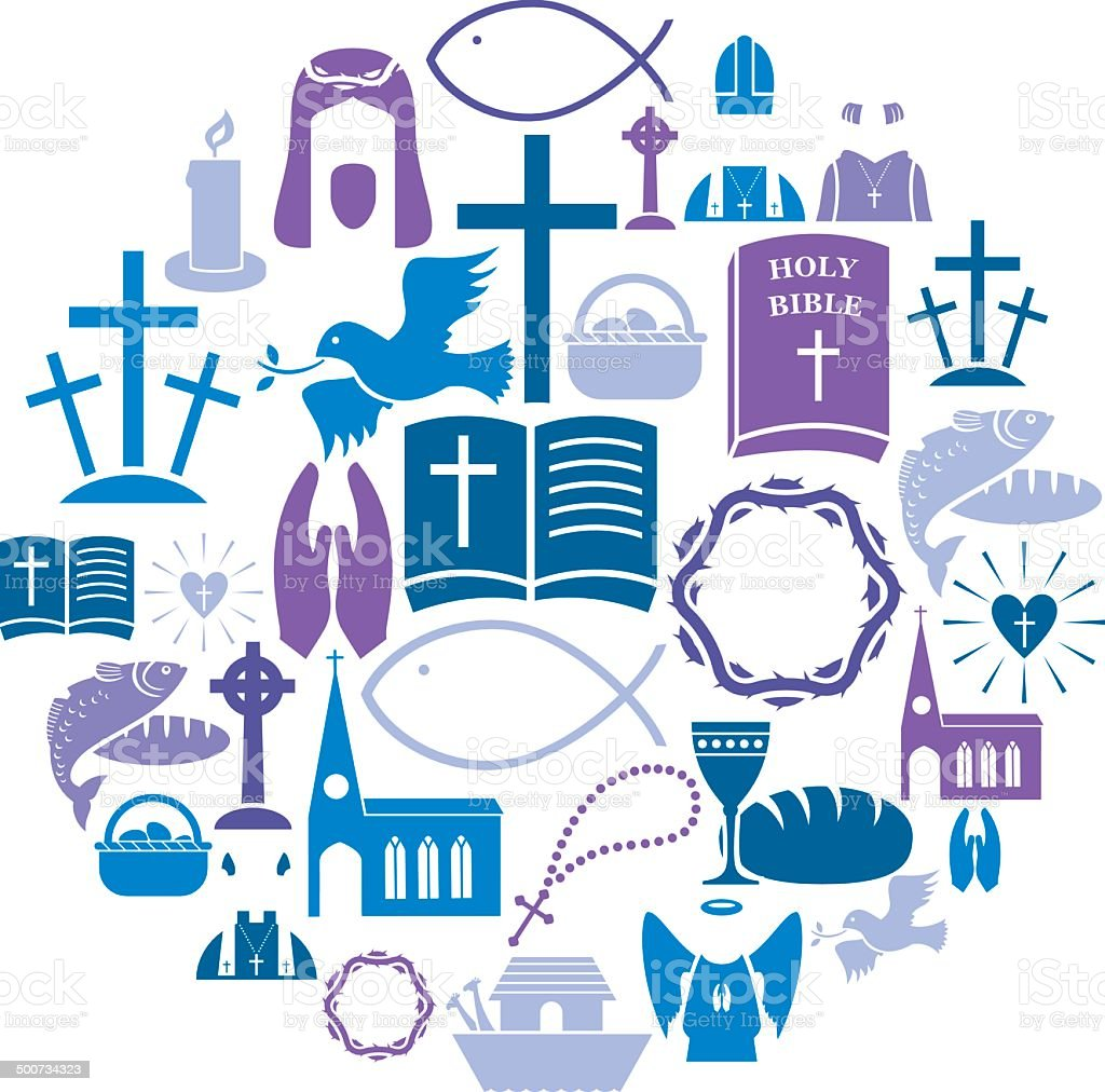 Christianity Icon Set vector art illustration