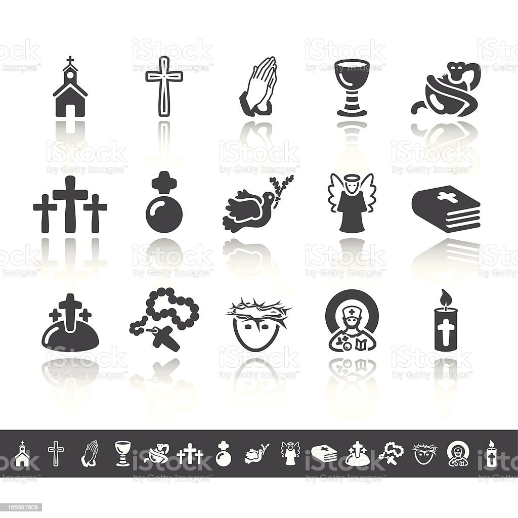 Christianity Icons | Simple Grey vector art illustration