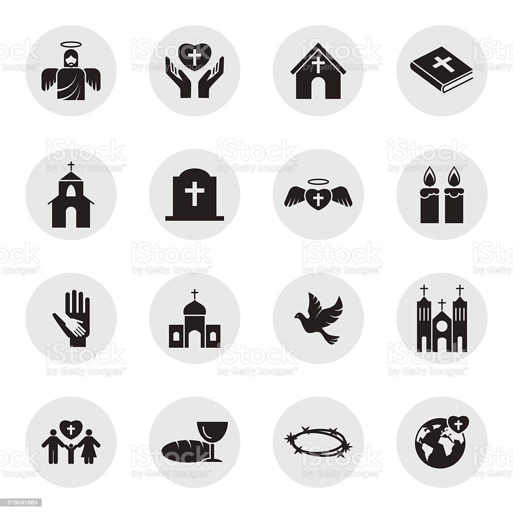 Christianity religion icon set vector art illustration
