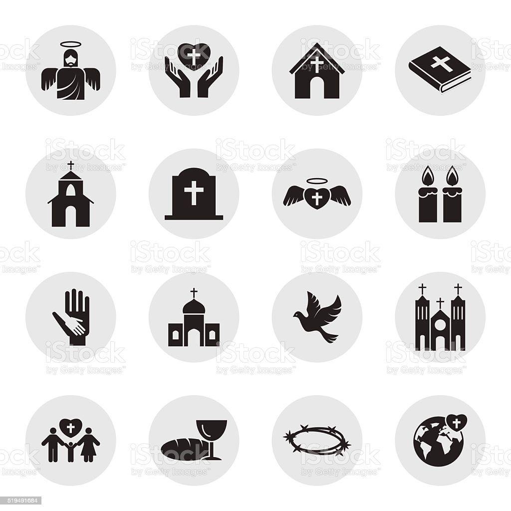 Christianity religion icon set vector art illustration