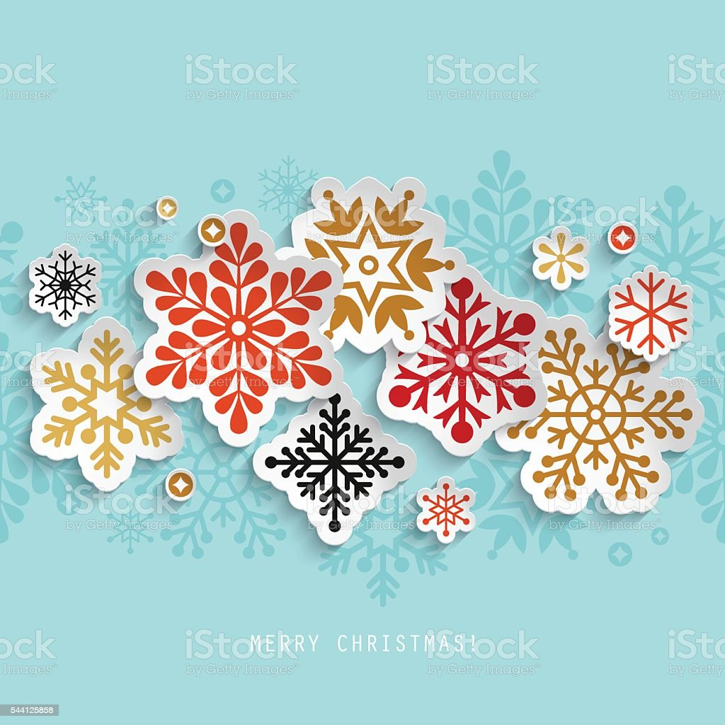 Christmas abstract background with paper snowflakes vector art illustration