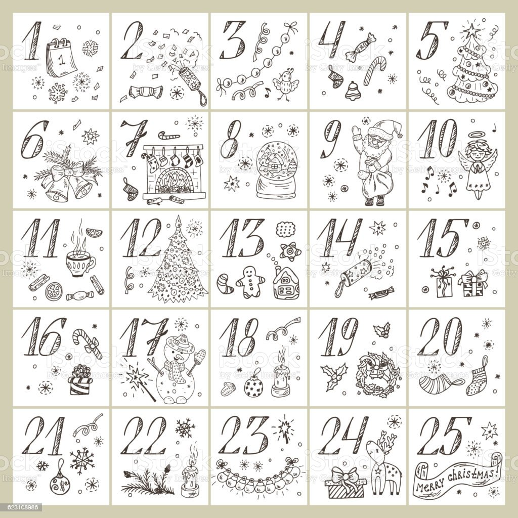 Christmas advent calendar. Doodle Christmas characters and decorations. Holiday Set vector art illustration