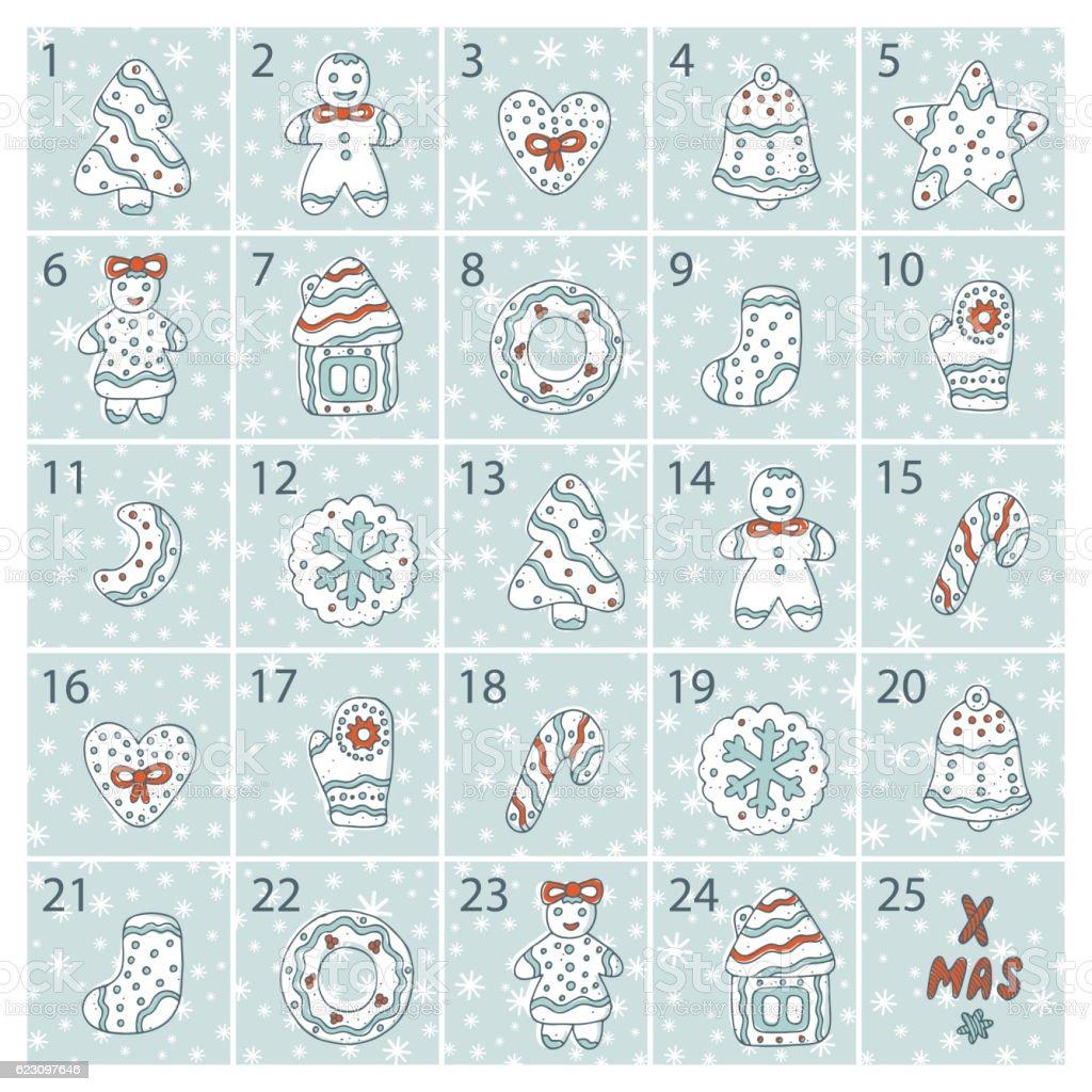 Christmas advent calendar. Doodle Gingerbread. Xmas Cookies. Merry Christmas Vector vector art illustration